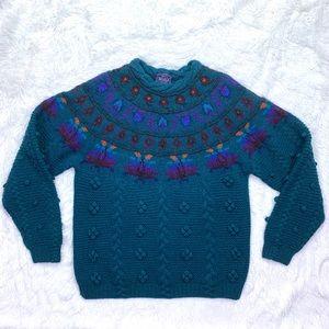 Woolrich Fair Isle Pom Pom Chunky Knit Sweater
